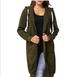 Long Maxi Hoodie Front Pocket Zip Front Jacket